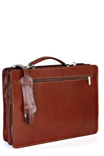 Leather Briefcase, Valigetta in pelle / business / laptop bag con tracolla, mod. 2027-p (39 / 29 / 11 cm) Italia Marrone (Marrone chiaro)