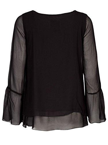 DAILY'S KLAUDIA Damen Blusenshirt mit Rundhalsausschnitt im Lagenlook aus Viskose und Elasthan - soziale fair trade Kleidung, Mode vegan und nachhaltig Color black, Size S - 2