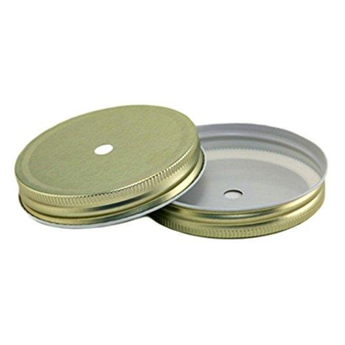 4 Stk. Deckel mit Loch - GOLD für Ball Mason Jar (WIDE) (Mason Jar Lids-daisy)