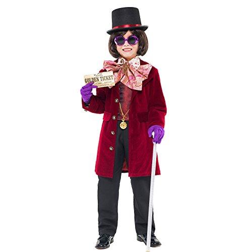 Krause & Sohn Kinderkostüm Willy Wonka Deluxe Viel Zubehör Inklusive Charlie und die Schokoladenfabrik Schwarz Rot Fasching Karneval (140)