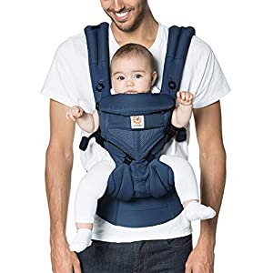 Ergobaby Baby Carrier for Newborn to Toddler, Ergonomic 4-Position Omni 360 Cool Air Midnight Blue, Baby Carrier Front Back Front Facing, Backpack   9