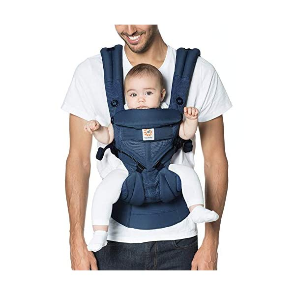 Ergobaby Baby Carrier for Newborn to Toddler, Ergonomic 4-Position Omni 360 Cool Air Midnight Blue, Baby Carrier Front Back Front Facing, Backpack Ergobaby Baby carrier with 4 ergonomic wearing positions: parent facing, on the back, on the hip and on the front facing outwards. four ergonomic carry positions and easy to use. Adapts to baby's growth: infant baby carrier new-born to toddler (7-33 lbs./ 3.2 to 20 kg), no infant insert needed Breathable 3d air mesh material ensures the optimal temperature of the baby. includes removable belt pouch. 1