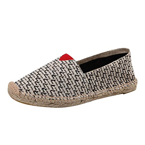 YEARNLY Espadrilles,Sommer Frühling Stroh Seil Wave Point Drucken Fischer Frauen Schuhe Casual Fashion All-Match Locker Canvas Damen Schuhe Schwarz Rot