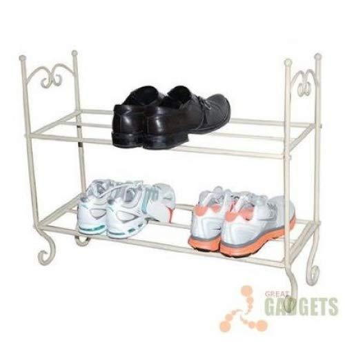Schuhregal, Metall, 2 Etagen, Vintage-Stil, cremefarben