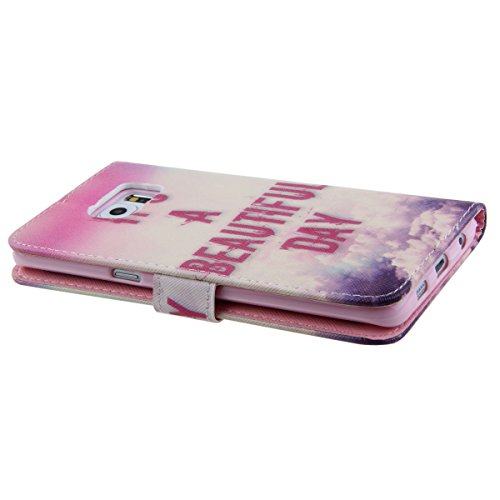 Samsung S6 Wallet Case Cover - Felfy Ultra Slim Cuir Coque Pour Samsung Galaxy S6 Flip It is a beautiful day Motif PU Étui Portefeuille Housse Etui Holster + 1x Rose Touch Stylus + 1x St