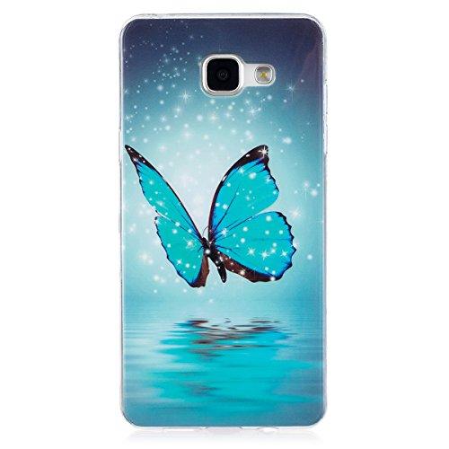 ISAKEN Compatibile con Samsung Galaxy A5 2016 Custodia, Agganciabile Luminosa Caso con Lampeggiante Ultra Sottile Morbido TPU Cover Rigida Gel Silicone Protettivo Custodia - Glitter Farfalle
