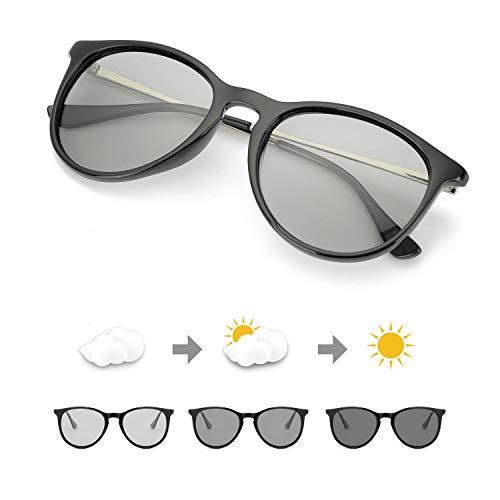 TJUTR Photochromatisch Sonnenbrille für Unisex, Polarisiert Klassische Retro Runde Brille Autofahren- 100% UV400 Schutz (Schwarz/Grau Photochromatisch)