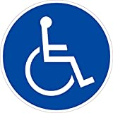Aufkleber Rollstuhlfahrer Folie selbstklebend 10cm Ø (Autoaufkleber, Behinderung) praxisbewährt, wetterfest