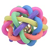 #3: SRI Imported High Quality Rainbow Color Puppy Pet knotted Rubber Sound Ball Bell Chewing Chasing Toy (Small)