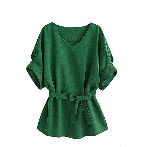 TOPSELD T Shirt Damen, Frauen V-Ausschnitt Selbst Tie Kurzarm Bluse Tops T-Shirts