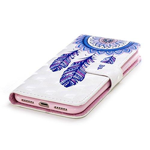 EUWLY Custodia per [iPhone X], 3D Bling Bling PU Pelle Portafoglio Case per iPhone X, Flip Stand Bookstyle PU Leather Wallet Cover Fashion Elegante Dipinto Colorato in PU Pelle Protettiva Borsa Custod Campanula Blu