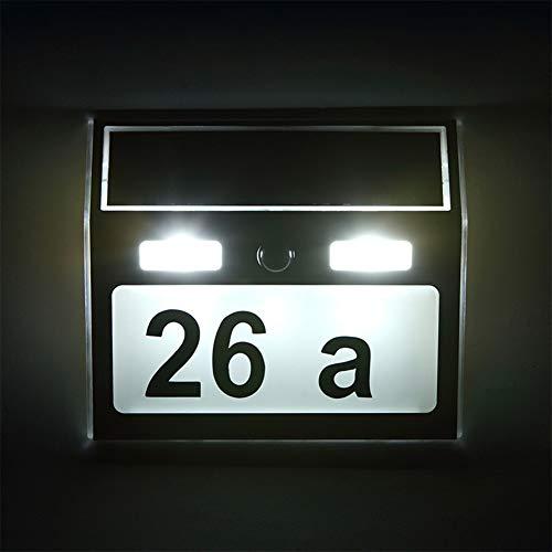 XJHJKR Solar LED Hausnummer Licht Mit Dämmerungsschalter Hausnummernleuchte Beleuchtete Lichtsensor Lampe Mit Zahlen Buchstaben Aus Edelstahl