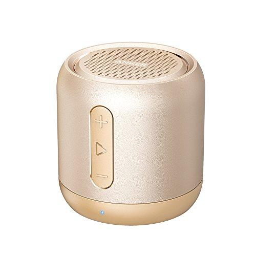 Anker SoundCore Mini Bluetooth Lautsprecher, Super Mobile Musikbox mit 15 Stunden Spielzeit, Starkem Sound und 20 Meter Bluetooth Reichweite, FM Radio und Starkem Bass für erstklassigen Klang (Golden)