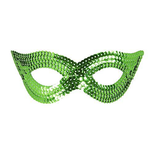 WIDMANN 05912 Augenmaske mit Pailletten Unisex- Erwachsene Grün One Size