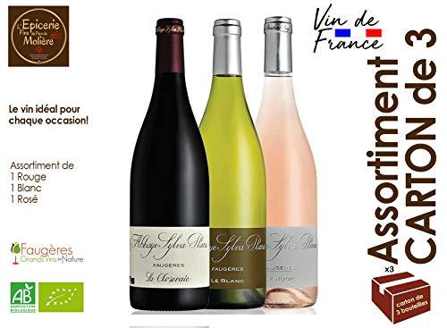 Sortiment der BIO-Weine Rot, Weiß und Rosé 2018 - AOC AOP Faugères du Domaine de l'abbaye Sylva Plana 75 cl - Wein aus Südfrankreich Languedoc Hérault Karton 3 Flaschen, enthält 1 von jedem Wein (Wein Languedoc)
