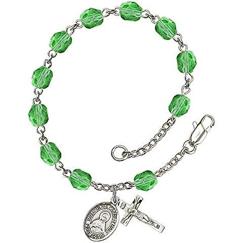 Braccialetto rosario, in argento, con 6 Peridot Fire beads. la croce lucida, misura: 5/8 x (Peridot Forma Di Cuore Ciondolo)