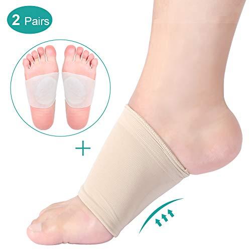 Arch Support Sleeves / Socken mit Comfort Gel Pad für Plantar Fasciitis, Kompression Fußgewölbe Bandagen Korrektur und Adhesive Pad Silikon Einlegesohle für Fußballen, Plattfüße, Schmerzlinderung -