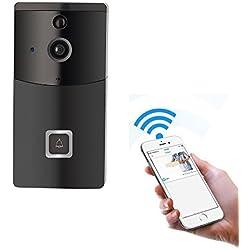 Timbre con video WiFi, GAKOV GAB10 170 grados HD Timbre inalámbrico inteligente con cámara, visión nocturna y detección de movimiento PIR