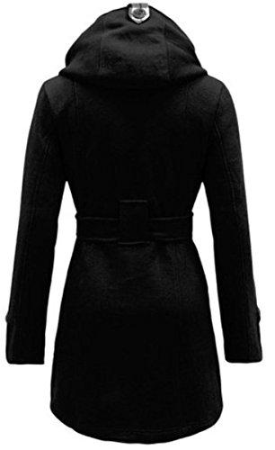 EVERY Damen stylischer Herbst Winter Fleece Mantel Jacke mit Kapuze Schwarz
