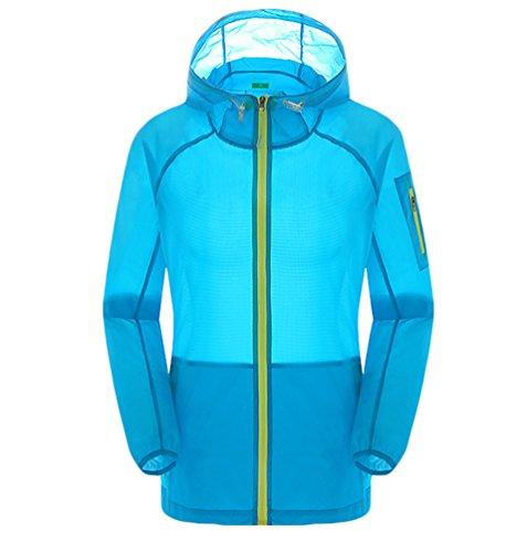 Dooxi Unisexe Imperméables Protection UV Extérieure Sport Veste Léger Respirant Séchage Rapide Capuche Vestes Bleu Ciel
