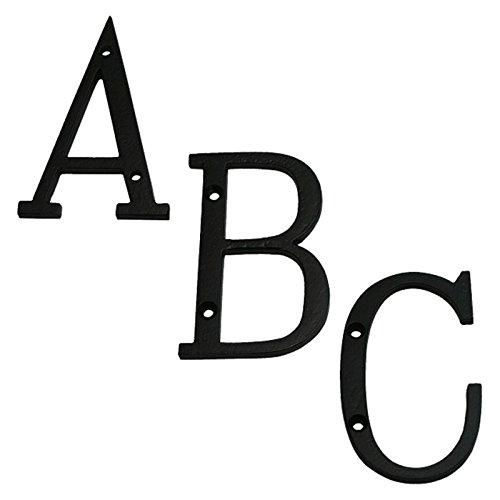 Ellas-Wohnwelt Buchstaben Hausnummer Metall Eisen schwarz lackiert von A bis Z Stein Holzwand -