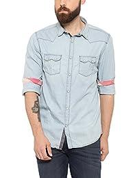 SHOWOFF Mens NavyBlue Solid Casual Shirts
