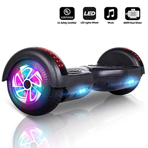 "Jolege 6.5\"" Elektro Self Balance Scooter mit 600W Smart Hoverboard mit bunten LED Lights Bluetooth Lautsprecher-freier Tragetasche und Ladegerät E-Skateboard E-Scooter"