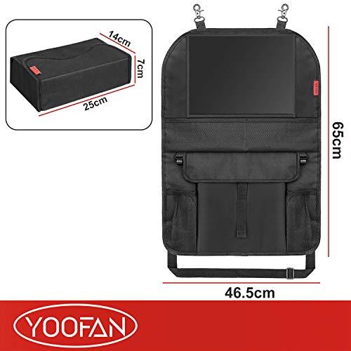 Auto Rückenlehnenschutz (2 Stück) Kinder Auto Organizer Wasserdicht Autositzschoner mit Große Taschen und iPad-/Tablet-Fach Kick-Matten-Schutz für Autositz