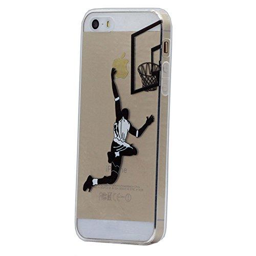 iPhone 5 / 5S / SE Hülle, Keyihan Komisch Muster Ultra Leicht Dünn Durchsichtig Transparent klar Weiche TPU Silikon Handy Schutzhülle Case für Apple iPhone 5 / iPhone 5S / iPhone SE (Sexy Basketball Layup)