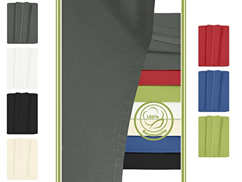 Betttuch - Haustuch - Bettlaken - aus 100% Baumwolle in 7 ausgesuchten Farben - Laken ohne Gummizug - Einheitsgröße von ca. 150 x 250 cm, anthrazit