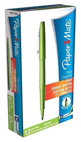 paper-mate-flair-original-juego-de-rotuladores-de-punta-sintetica-12-unidades-color-verde