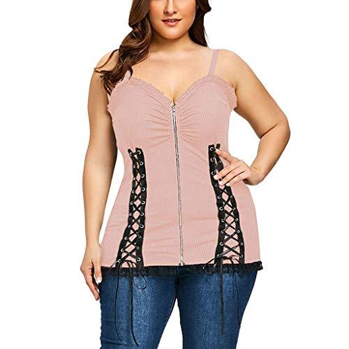 Sexy Rope Zipper Rüschen Schulter Lace Sling Weste Frauen Einfarbig Lässiges Plus Size Oberteile (pink,L5) ()