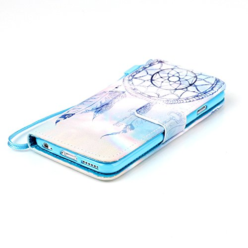 iPhone 6S Handyhülle, Felfy Ultra Slim Flip für / Apple iPhone 6/6S (4,7) / Leder Etui Ledertasche Schutzhülle Case / ablösbar Handy Lanyard Blue Himmel Dreamcatcher Design/ 1x Blau Blume Stöpsel / 1x Dreamcatcher