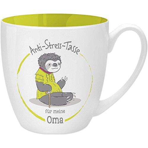 Gruss & Co 45505 Anti-Stress Tasse für Oma, 45 cl, Geschenk, New Bone China, Gelb, 9.5 cm