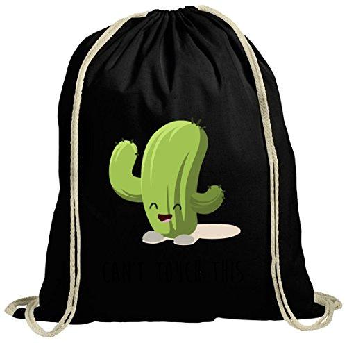 Cotton Gymsac Can't touch this Kaktus Turnbeutel schwarz natur