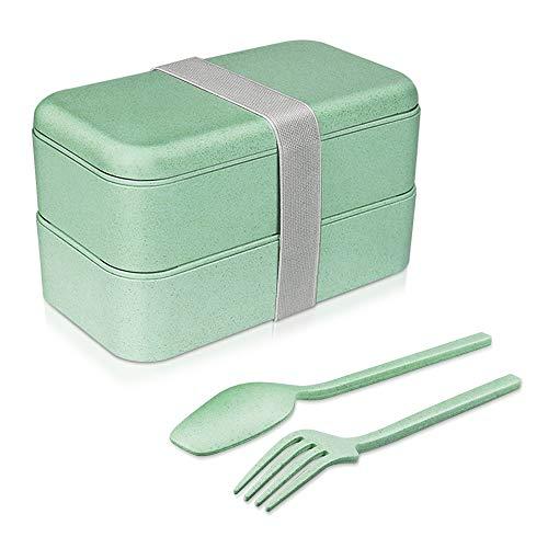 Guenx Bento-Box, Lunchbox/Kinder Lunchbox Brotdose mit 2 Unterteilungen - Gefertigt aus Weizen, Biologisch abbaubar, plastikfrei, BPA frei, Auslaufsicher Bento-box