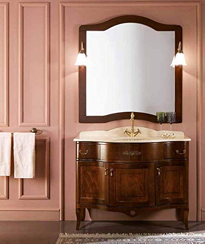 Bluelife mobile da bagno classico in legno massello noce 105cm london 3 ante top piano in marmo giallo egizio con ciotola in ceramica specchiera e applique
