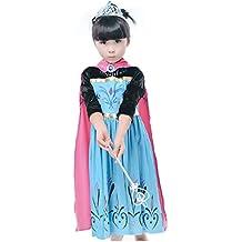 Traje Lsfx ??Elsa Frozen tamaño 140 6-7 años de Nieve vestido de la reinaMás Mantello fucsia bordado Bimba