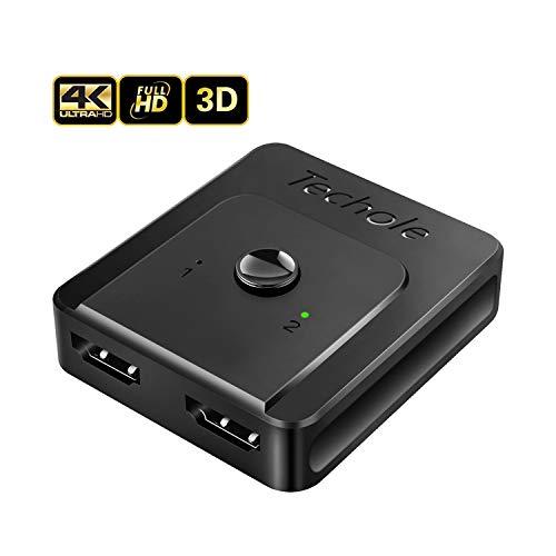 Switch HDMI 4k Splitter HDMI, Techole Commutateur HDMI Bi-directionnel 2 Entrées à 1 Sortie ou 1 Entrée à 2 Sorties Supporte 4K/1080P/3D Arc CEC pour Xbox PS3 PS4 TV Lecteur Blue-Ray DVD Player