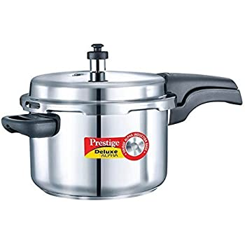 Prestige Deluxe Alpha Stainless Steel Pressure Cooker, 4 Litres,Silver