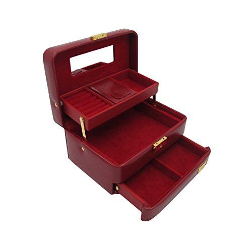 Cordays Coffret à Bijoux pour Femme avec 3 Niveaux et Ouverture Automatique. Boîte Organiseur -Qualité Premium- Fait Main CDL-10010P
