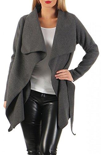 Damen kurz Mantel Trenchcoat mit Taschen ( 541 ) Steingrau