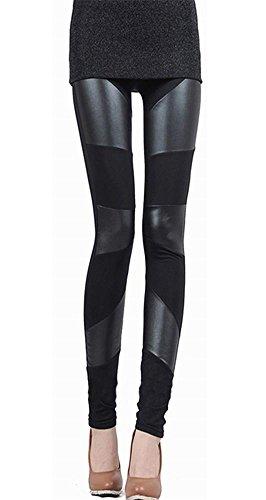 2015 Mangotree Damen Skinny Leggins PU Leder Dehnbar Leggings Live Love Leggings Baumwolle Legging (One size, 3 Striped)
