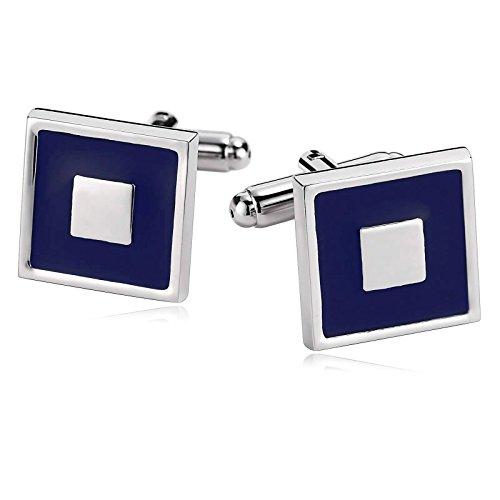 Epinki Mode Herren Edelstahl Hemd Manschettenknöpfe Quadrat Silber Blau Für French Manschettenhemden mit Geschenkkarton