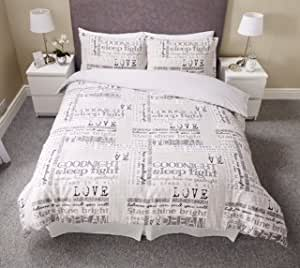 luxury love dream quotes calligraphy script cream duvet set quilt cover pillow case bedding. Black Bedroom Furniture Sets. Home Design Ideas