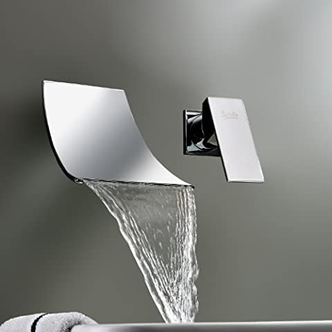 LightInTheBox Sprinkle® Wall Mount Single Handle Chrome Finish Widespread Waterfall Bathroom Bathtub Mixer taps Contemporary Bathroom Sink Faucet Bath Tub Taps Shower lavatory curve spout unique designer roman tub wide bar two holes plumbing fixtures