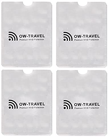 ✅ SureSECURE RFID & NFC Blocking Passport Protector Sleeves - Top Rated Identity Theft Protection - Stay Protected with Flight Accessories by OW-Travel (Silver Sleeve Shield ID Holder,