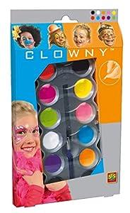 Clowny- Acuarelas para la Cara de 10 Colores Modernos, Multicolor (SES 09696)