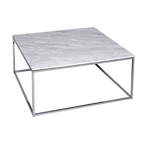 Gillmore Space Marbre Blanc Table Basse carré d'Argent métal Contemporain