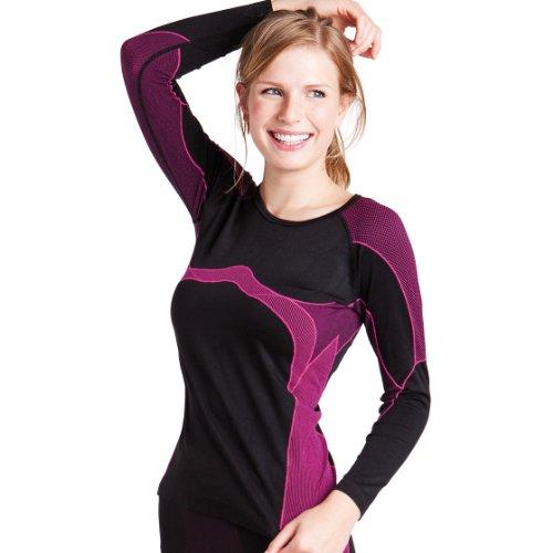 Damen Thermo Funktionsshirt Langarm schwarz/pink Größe S / M